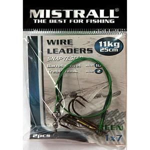 Ocelové lanko Mistrall s trojháčkem 2ks 11kg/ 25cm