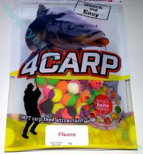 Fluoro Pop-Up boilie 4Carp 30g two tone - barevný mix 12mm - Vanilka - 2
